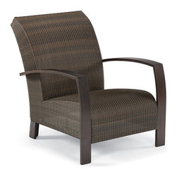 "Frontgate - Del Mar Outdoor Lounge Chair, Patio Furniture - New weave for 2012. Contemporary, concealed cushion design. 3-1/4"" wide arms and curving legs. Handwoven resin fibers. Corrosion-resistant aluminum frame. The secret to our Del Mar Lounge Chair's comfort is a layer of 2-1/2"" thick reticulated foam hidden beneath the beautifully woven resin seat and back. Water flows through the foam and the perforated frame for quick-dry convenience. The sturdy aluminum frame has a nano-ceramic prewash that bonds the finely grained mahogany finish to the metal, giving this chair maintenance-free durability and weather-resistance. Part of the Del Mar Collection. .  .  .  .  . Frame is finished to resemble finely grained mahogany ."