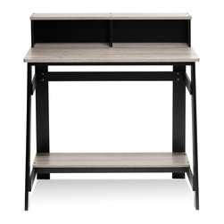 Furinno - Furinno 14054BK/GYW Simplistic A Frame Desk, Black/Oak Grey - Furinno Simplistic series A-frame study desk is designed to fit your space, your style and your budget. This unit is made of CARB compliant composite wood and it has a simple industrial look. The structure is very sturdy and firm with the A-frame design. It has a built-in desk hutch to serve as stationery storage.
