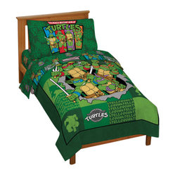 Jay Franco and Sons - TMNT Teenage Mutant Ninja Turtles 4pc Toddler Bedding Set - FEATURES: