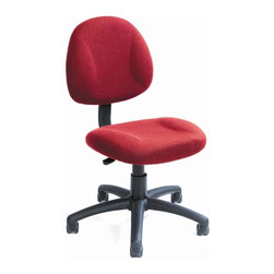 BOSS Chair - Fabric Office Chair In Burgundy w Lumbar Supp - Get where you need to go with this office chair's convenient portability. Its dual wheel casters serve as the foundation for the rest of the design, which red upholstered fabric and one touch seat adjustment. The built-in lumbar support provides superior comfort and promotes a healthy posture. Back height and depth are fully adjustable. Pneumatic seat height adjustment. Thick padded seat and back with built-in lumbar support. Waterfall seat reduces stress to your legs. 5 star nylon base allows smooth movement and stability. Hooded double wheel casters. Cushion color: Burgundy. Base/wood: Black. Seat size: 17.5 in. W x 16.5 in. D. Seat height: 18.5 in. -23.5 in. H. Overall dimension: 17.5 in. W x 25 in. D x 35-40 in. H. Weight capacity: 250 lbs