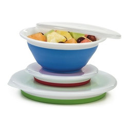 Progressive International Corp - Collapsible Storage Bowl Set - This collapsible storage bowl set is perfect for preparing foods or simply storing leftovers. Leak resistant lids reduce the chance of spills. Great for traveling hiking school work camping picnics and more. Simply press to collapse the bowls for compact storage!  Set includes: one red 1½ cup (350 ml) one cornflower blue 3 cup (700 ml) one green 5 cup (1.2 L) bowl and three clear lids. All bowls expand to use and collapsible to store!