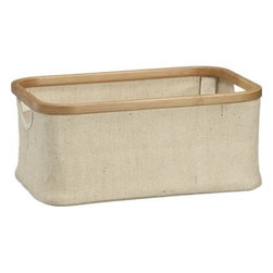 Small Bamboo-Jute Basket - Durable, eco-friendly jute and sustainable bamboo pair up in rounded rectangular basket to store household essentials. Collapsible bamboo supports fold down for compact storage.