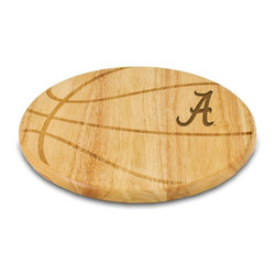 """Picnic Time - University of Alabama Free Throw Cutting Board - The Free Throw cutting board is a 12"""" round x 0.75"""" board made of eco-friendly rubberwood in a basketball design, with 104 square inches of cutting surface. It can be used as a cutting board or serving tray, or use both sides of the board, one for cutting and the other for serving. The backside of the board has is blank, with no design. Score with your guests when you show them your Free Throw! (Point of sale Cutting Board Display Rack (899-00-505) available. See item for details.); College Name: University of Alabama; Mascot: CrimsonTide; Decoration: Laser Engraving"""