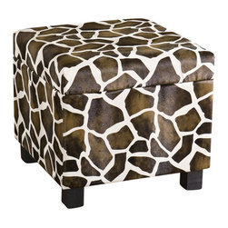 Southern Enterprises - Southern Enterprises Giraffe Faux Leather Storage Ottoman - Southern Enterprises - Ottomans - BC5956R - Add some flare to your home with this glamorous giraffe print foot stool. Perfect everywhere from living room to kid's room, the added storage and decorative accent are sure to make an impression. Complete with an emulated fur texture, this faux leather foot stool has a lid that lifts to reveal a spacious storage compartment for throw pillows, blankets or toys. The anti-slam hinge will add peace of mind with small children around. Add some character to your home today!