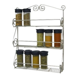Spectrum Diversified Designs - Scroll Spice Rack Wall Mount Boxed, Satin Nickel - Store all of your spices in one place with the 3-Tier Scroll Wall Mount Spice Rack. Made of sturdy steel, the beautiful scroll design will add a traditional touch to your home.
