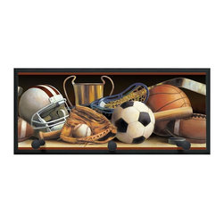 illumalite Designs - Classic Sports Plaque w Pegs in Black - Includes hanging hardware. Solid wood base. Made in USA. 20.5 in. W x 4 in. D x 9 in. H (2.50 lbs.)