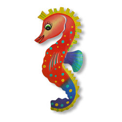 Zeckos - Hand Painted Metal Seahorse Wall Hanging Bright Colors - This beautiful metal wall hanging features a pink, red, blue and purple seahorse, with yellow and teal accents. It measures 10 inches tall, 4 3/4 inches wide and about an inch thick. It'll add a splash of color to any room, and makes a great gift for seahorse lovers.