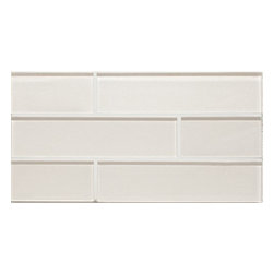 """Bedrosians - Manhattan Glass Tile - 2""""x8"""" Brick Pattern, Pearl, Glossy Finish - Sold by the square foot"""