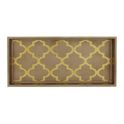 Belle & June - Arabesque Espresso/Coffee 2-Drink Tray - Every host or hostess needs a beautiful serving tray that could double as an organizer for a dresser, a catch-all for keys and spare change, or become a makeshift coffee table on an ottoman. This gorgeous golden espresso tray is so chic it's Tray!