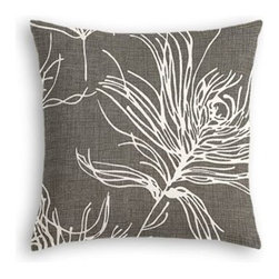 Dark Gray Feather Print Custom Throw Pillow - The every-style accent pillow: this Simple Throw Pillow works in any space.  Perfectly cut to be extra fluffy, you'll not only love admiring it from afar but snuggling up to it too! We love it in this modern print with giant white feathers floating across a heathered charcoal cotton ground.