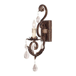 Savoy House - Chastain 1-Light Sconce - Distinctly curved arms are showcased in this remarkable sconce. Dangling droplets above and below the light fixture create a splash of sparkle on your wall.