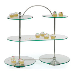 Bakery Stand - Make an addition of light-weight yet sturdy Bakery Stand in your home. It is made of high quality brass material plated with nickel and furnished with multiple glass bases. It features a nice and fresh look which makes it great addition for parties and gatherings. Glass tops are provided to hold cup cakes in a better and presentable way.