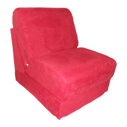 """Fun Furnishings - Fun Furnishings Micro Suede Teen Chair-Personalized in Red - What a great place to plop down and relax. Each bag come with a handy pocket to store the clicker or any other prized possession. The outer cover is removable for cleaning. The inner liner bag securely contains new fire retardant �beads"""" and is refillable too. Cleaning the cover. We use only fine upholstery-grade fabrics that can take lots of use from kids. Our micro Suede's, denims and chenille's are all washable."""
