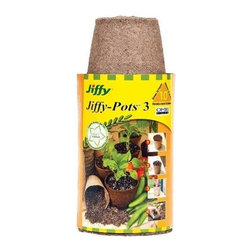 "Jiffy Peat Pots  3"" round  10 pack - These 3 inch Jiffy Pots are perfect for seed starting. They are made of biodegradable compacted peat. The entire pot can be transplanted into its final location completely avoiding transplant shock. Made from Canadian Sphagnum Peat Moss these peat pots are excellent for starting your plants indoors. Once your plants are ready to move outdoors plant the entire peat pot and all and reduce transplant shock."