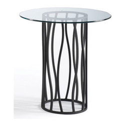 Johnston Casuals - Atlantis End Table - These tables are functionally artistic as they showcase treasures, works of art and literature, and even a collection or two. But it's understandable if these tables serve more often as contemporary icons in their own right. They're timely accents with a rare balance of form and function that is the essence of contemporary design. Features: -Contemporary style.-Innovative design.-Individually hand crafted.-Commercial grade welding.-Round shape.-Made in the USA.-Construction: High quality powder coat metal.-Distressed: No.-Country of Manufacture: United States.Dimensions: -Overall Product Weight: 33 lbs.Warranty: -Manufacturer provides ten years structural warranty on metal frames.