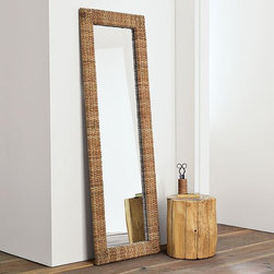 Woven Floor Mirror - A natural reflection. Framed in woven seagrass, this floor length mirror adds texture to bedrooms and bathrooms, whether leaning against a wall or hanging.