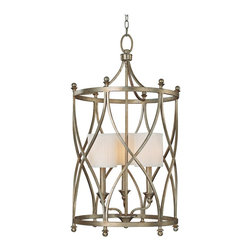 """Lamps Plus - Traditional Fifth Avenue Collection 3-Light 34"""" High Foyer Pendant Light - A winter gold finished cage surrounds a mini three light pendant light.  The intricate details are amazing and visually stunning. The pleated fabric shades gives it a traditional feel. Winter gold finish. Box pleated stay straight fabric shades. Takes three 60 watt bulbs (not included). 16 1/2"""" wide. 34"""" high. Canopy is 5 1/2"""" square. Hang weight is 22lbs.  Winter gold finish.   Box pleated stay straight fabric shades.   Takes three 60 watt bulbs (not included).   Canopy is 5 1/2"""" square.   16 1/2"""" wide.   34"""" high.   Hang weight is 22lbs."""