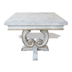 Koenig Collection - Tuscan Accent Table San Leandro, Weathered Creams - San Leandro Accent Table, Weathered Creams, Gray, and Gold Leaf