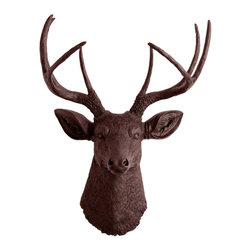White Faux Taxidermy - The Coffee - Brown Faux Resin Deer Head - Measurements: