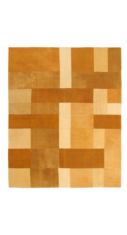 """Torabi Rugs - Flat-weave Bohemian Brown Wool Kilim 6'7"""" x 8'2"""" - This patchwork rug is made of vintage classic kilim pieces which are sewn together to form a truly one of a kind larger rug. This quirky and eclectic piece is painstakingly hand stitched. Light weight, this can also be used as a bedspread or throw. A colorful and updated vision of style, color and texture."""