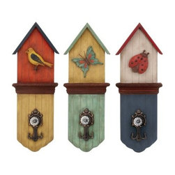 Colorful Metal Wall Hooks - Set of 3 - The garden pals on the Colorful Metal Wall Hooks - Set of 3 freshen up any room. Packaged as a set of three, these wall hooks are crafted of high-quality wood with colorful finishes. The carved bird, butterfly, and ladybug designs are wonderfully charming, and the metal hooks have an antique appeal. Display them in the kitchen or entryway to create the perfect perch for keys, a jacket, or a purse.