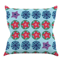 "Kess InHouse - Jane Smith ""Seasons Winter"" Blue Red Throw Pillow (16"" x 16"") - Rest among the art you love. Transform your hang out room into a hip gallery, that's also comfortable. With this pillow you can create an environment that reflects your unique style. It's amazing what a throw pillow can do to complete a room. (Kess InHouse is not responsible for pillow fighting that may occur as the result of creative stimulation)."