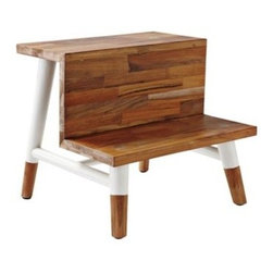Serena & Lily - Teak Step Stool - A must for the bath. And not just because it's pretty to look at. Teak is naturally water-resistant, so it stands up to moisture like a champ. Painted white legs gives the wood's matte finish a modern pop. Wide steps help little feet stay firmly planted.  View dimensions
