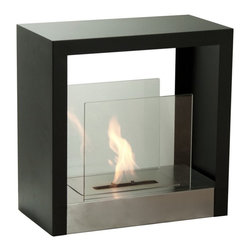 """Ignis Tectum S 20"""" x 20"""" Freestanding Ventless Ethanol Fireplace FSF-025 - An extremely versatile free standing ethanol fireplace, this unit can be placed in any spot of any room. A black powder coated frame a stainless steel base and glass panels on both sides provide safety and a designer touch. Put in the middle of the room and view the flame from anywhere, with its compact size the options are endless."""