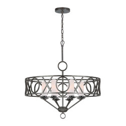 Crystorama - Crystorama 9448-EB Odette 8 Light Chandeliers in English Bronze - The arts and crafts influence is obvious in the Odette collection. The repeated hug and kiss motif is the focal point. This chandelier looks and feels very much like a piece of artwork.