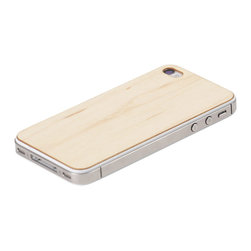 Lazerwood - Maple iPhone Cover - Low profile, real wood veneer cover for iPhone. Peel-and-stick backing makes the cover easy to apply and remove without damage to the phone. Designed and made in Seattle, WA.