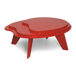 Loll Designs - Topo Table, Apple Red - Designed with Eva Sobesky, the Topo Table is casually eye-catching and unexpected. This smaller, tiered table, is inspired by the concentric lines of elevation on a topo map. The Topo works well with Loll's lower slung lounge chairs and chaise lounges like the Cabrio, Vang, and Luge.