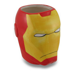 Zeckos - Marvel Comics Iron Man Ceramic Coffee/Tea Mug - Raise your glass (or, mug) to one of the mightiest heroes of Earth with this awesome Iron Man mug Have a drink with Tony Stark while sipping your morning coffee, afternoon tea or hot chocolate on a snowy day, if only in your imagination This officially licensed marvel comics character mug features a brightly colored glossy finish in characteristic Iron Man colors This ceramic 4.5 inch high, 6 inch long, 3.5 inch wide (11 X 15 X 9 cm) Iron Man mug is recommended to hand wash only to keep it looking great, and suggested for those 12 years and older. It's perfect as a gift for the comic book superhero loving person in your life sure to be enjoyed