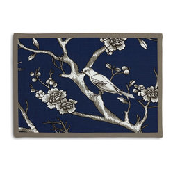 Blue Modern Chinoiserie Tailored Placemat Set - Class up your table's act with a set of Tailored Placemats finished with a contemporary contrast border. So pretty you'll want to leave them out well beyond dinner time! We love it in this dark blue & white modern chinoiserie print with blossoms & birds branching out across a soft lightweight cotton.