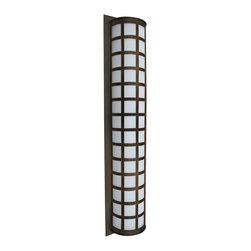 """Besa - Besa Scala 40"""" High Bronze Outdoor Wall Light - Featuring clean shapes a glossy Satin White diffuser and durable powder-coated sheet metal the Scala 40-inch outdoor wall sconce from Besa Lighting is designed to withstand the tests of time. Bronze finish. Bronze finish. White acrylic shade. Scala interior/exterior fixture. By Besa Lighting. Assembled in the USA. Three maximum 60-watt or equivalent bulbs (not included). 40"""" high. 8 3/4"""" wide. Extends 4 3/4"""" from the wall.  Bronze finish.  White acrylic shade.  Scala interior/exterior fixture.  By Besa Lighting.  Assembled in the USA.  Three maximum 60-watt or equivalent bulbs (not included).  40"""" high.  8 3/4"""" wide.  Extends 4 3/4"""" from the wall."""