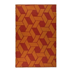 Safavieh - Rectangular Plastic Outdoor Rug (5 ft. x 3 ft.) - Size: 5 ft. x 3 ft. Contemporary style. Hand woven weave. Synthetic fiber. Knotted construction. Geometric pattern. Resistant to mold, mildew, sun, water and other elements. Made from plastic. Blood and orange color. Made in India. Pile height: 0. 25 in.