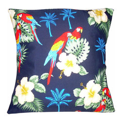 "Mid Century Home USA - Mid Century Tropical Hawaiian Pillow Cover ""Hawaiian Parrots"" - This pillow cover was freshly made using a very unique 1950's fabric from Hawaii, very 1950's!  The design is ""Hawaiian Parrots"", complete with the 2 parrots and palm trees.  This interesting design is on a soft and silky fabric.  Colors are vibrant!  The back of the pillow is a coordinating red duck cloth canvas which helps the pillow hold its shape.   The seams are professionally serged to prevent fraying.  The pillow insert is NOT included.  The pillow is 17"" X 17"", use a ""18"" insert to ensure a very plump pillow.  This is a ""one of a kind""."
