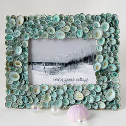 Aqua Limpets Seashell Frame by Beach Grass Cottage - This beautiful frame made of aqua limpet shells is so unique.