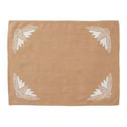 Cricket Radio - Alexandria Lotus Placemat, Set of 2, Camel/White - It's time to turn the tables. This set of two pre-shrunk linen placemats features printed lotus flowers on front and simple stripes on back so you can add at least two new looks to your dining or breakfast table. And they come in several colors so you can mix or match to your heart's content.