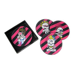 Zeckos - Set of 4 Ed Hardy Punked Skull Leather Coasters - Keep your bar, coffee table or end table free of condensation rings with this officially licensed set of 4 screenprinted leather Ed Hardy 'Punked' coasters. The coaster are hot pink and black striped, each with a different punk rock skull design embroidered in the center. They measure 4 inches in diameter. They make a great gift for any Ed Hardy fan.
