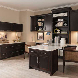 Office Cabinets in Dark Cherry Finish - Diamond Cabinetry -