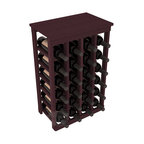 24 Bottle Kitchen Wine Rack in Redwood with Burgundy Stain - Petite but strong, this small wine rack is the best choice for converting tiny areas into big wine storage. The solid wood top excels as a table for wine accessories, small plants, or whatever benefits the location. Store 2 cases of wine in a space smaller than most televisions!
