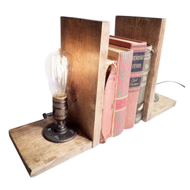 Rustic Industrial Edison Bulb Bookend Lamp With Bulb - Urban Industrial Craft -