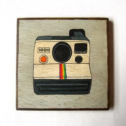 Vintage Electronics Polaroid Camera Original painting on Art blocks - Lunartics Art & Vintage Studio