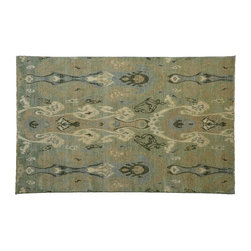 Oriental Rug, Tribal Design 100% Wool Hand Knotted 6'X9' Ikat Uzbek Rug SH7712 - Hand Knotted Ikat & Suzani Rugs are bold and usually the focal point of the room.  The design is large and is all highly in demand by designers.