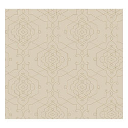 York Wallcoverings - York Wallcoverings DE8847 Aviva Wallpaper - Mid sized graphic line drawing interpretation of Moroccan inspired interconnected medallion tiles done in metallic ink on a backdrop of shimmering pearl neutrals. Candice Olson brings the exotic Near East to western design with sophisticated impact.Features: