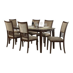 "Liberty Furniture - Liberty Furniture Davenport 7 Piece 78x40 Dining Room Set in Medium Wood - Davenport changes the term ""casual dining"" to ""stylish dining"". Chairs tend to be the focus in dining and the Davenport chair is a nice combination of upholstery in a champagne chenille and wood horizontal slat accents. Tables feature fancy face 4 way match cherry veneers with softly rounded edges and tapered legs. What's included: Dining Table (1), Side Chair (6)."