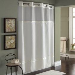 """Hookless - Hookless Escape 71-Inch x 74-Inch Fabric Shower Curtain and Liner Set in Ivory - This innovative shower curtain and liner offer no hassles thanks to their """"split ring"""" hookless design that lets you hang them in less than 10 seconds."""
