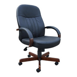 """BOSS Chair - Ergonomic Executive Office Chair In Black Lea - Can't choose between richly finished hard wood and swanky, modern leather for your office chair? You can have both with this executive swivel chair. Its stylish design combines the classic mahogany finished hardwood frame with black LeatherPlus upholstery, while its ergonomic construction with contoured high back and arm rests ensures you don't compromise on comfort either. Beautifully upholstered In black LeatherPlus. Softness and durability. Passive ergonomic seating with built in lumbar support. Hardwood arms accented with upholstered pads. Hardwood caps, on 27"""" steel leg base, for greater stability. Hooded double wheel casters. Upright locking position. Pneumatic gas lift seat height adjustment. Adjustable tilt tension control three elegant wood finishes: B8376-K  Medium Oak B8376-C  Cherry B8376-M - Traditional Cherry. Cushion color: Black. Base/wood: Mahogany. Seat size: 20 in. W x 19 in. D. Seat height: 18 in. -21.5 in. H. Arm height: 25 in. -28.5 in. H. Overall dimension: 27 in. W x 27 in. D x 40.5-44 in. H. Weight capacity: 250 lbs"""