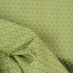 Ava Sage Upholstery Fabric By The Yard - This light green stria fabric has a small diamond trellis pattern accented in brown.  The uses for Ava Sage include draperies , upholstery , bedding , pillows , cornices , curtains , panels , valances.