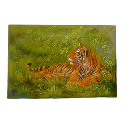 Golden Lotus - Oil Paint Canvas Art Portrait Tiger Wall Decor - Oil painting on canvas.  ( ship in roll, no frame )